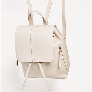 ZARA Faux Leather Backpack Off White